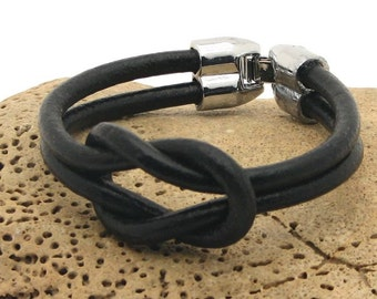 EXPRESS SHIPPING Valentine's day .Mens leather bracelet .Black leather nautical bracelet with silver plated clasp.Gift for him.Gift for men.