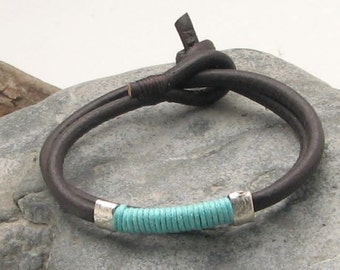 EXPRESS SHIPPING Custom Jewelry. Leather bracelet.Men or women ,black leather wrap bracelet with turquoise yarn and silver plated spacers.