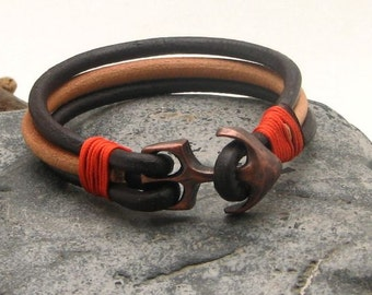 EXPRESS SHIPPING Anchor bracelet. Unisex leather bracelet Natural and brown multi strand leather bracelet with copper plated anchor clasp