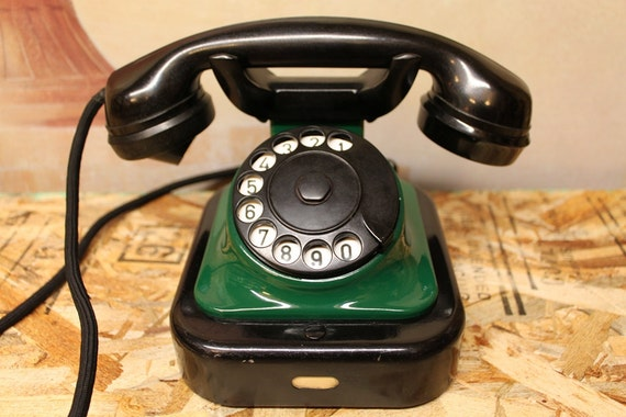Siemens Rotary Vintage Phone Black and Green