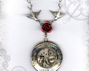 Red Rose Steampunk Locket - Za Dee Da Time Traveller Collection - Time to Smell the Roses
