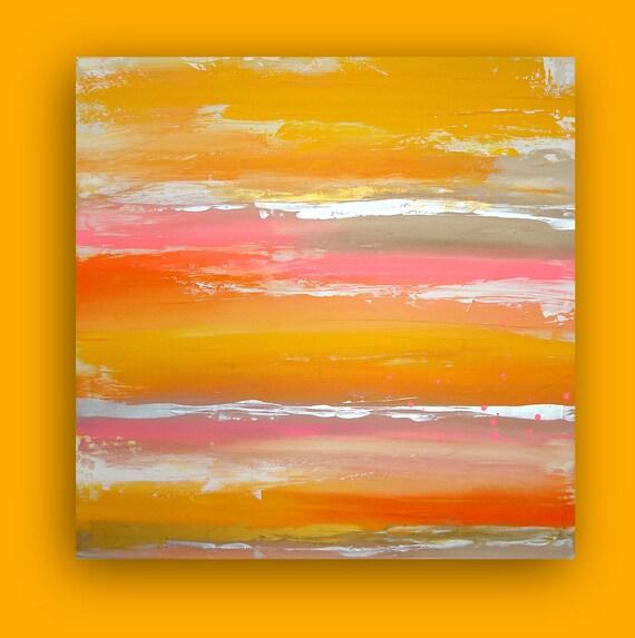 "ART ABSTRACT ACRYLIC Titled: Summertime Fun Original Ora Birenbaum Acrylic Abstract Fine Art Painting 30x30x1.5"""