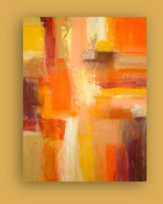 "LARGE Original Abstract Painting Fine Art on Gallery Canvas Title: SEDONA 30x40x1.5"" by Ora BIrenbaum"