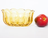 Vintage Yellow Glass Serving Bowl Free Shipping