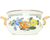 Vintage Cookware Pot Brass Accents Floral Design Made in Germany Free Shipping