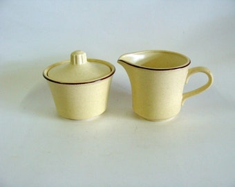 Yellow Creamer Sugar Bowl Set, Ceramic Pottery Creamer Sugar Bowl Set, Serving KItchenware, Made in USA