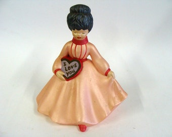 Holland Mold Lady Figurine with Peach Pink Dress Holding a Heart Shaped Box of Valentine Candy
