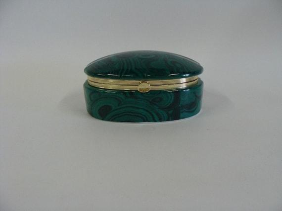 Oval Ceramic Porcelain Trinket, Jewelry Box, Green Marble Design, Andrea by Sadek