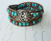 Boho Leather Wrap Bracelet, Turquoise Burnt Orange, Cowgirl Country Jewelry, Southwestern Style Bohemian chic Blue and Brown, Sunflower