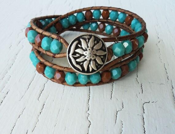 Sunflower Leather Wrap Bracelet, Turquoise Leather Bracelet, Cowgirl Bracelet, Southwestern Jewelry, Bohemian Jewelry, Beaded Boho Bracelet