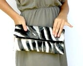 Fold Over Clutch, Black and Taupe Clutch, Fall Fashion Clutch, Ombre Cosmetic Bag, Handbag, Make up Pouch