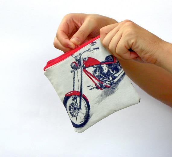 Men Change Wallet, Man Coin Purse, Red and White Money Wallet, Motorbike Wallet