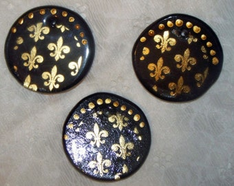 Set of 6 - Fleur De Lis Black & Gold Ornaments