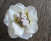 Steampunk Pirate Ivory & Gold Bunnyfly Ivory Flower Brooch / Hair Clip (bh010)