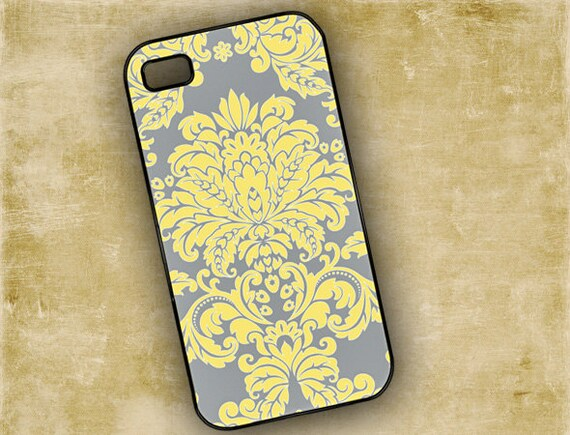 Iphone 4 case - Gray and yellow damask - Iphone 4 cover and 4s cover (9587)