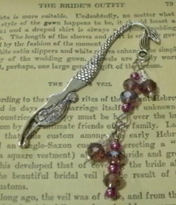 Beaded Mermaid Bookmark -  Purple Swarovski Crystals & Purple Pearls