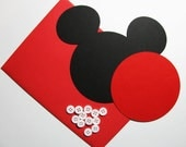 "Mickey DIY Invitation Kit w/envelopes- Mickey head with shorts: 20 pack- 5"" Mickey Mouse ear die cuts (BLACK) w/ 10 circles (RED) & buttons"