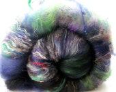 Stir Crazy Art Batt  4.3 oz green/blue/white/black/grey - merino/border/silk/bamboo/angelina