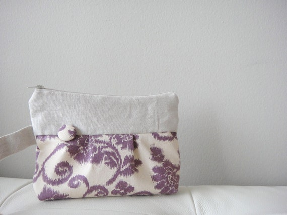Pleated Wristlet, Purple Flower Cotton Fabric with 100% Linen Fabric