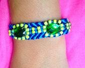 Galaxy Blue Friendship Bracelet  with Neon YellowRhinestones