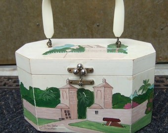 1970s Hand Painted Wood Box Bag From Palm Beach