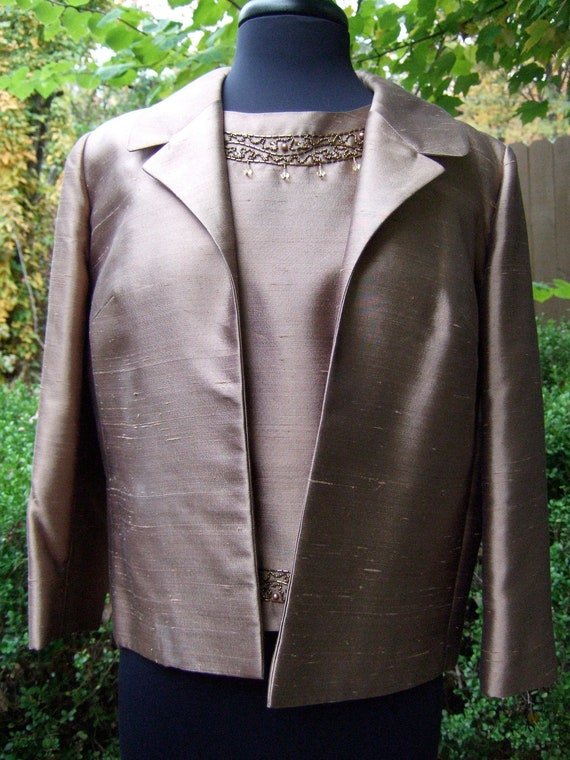 Reserved for Shannon 1960s Shantung Mocha Brown Jacket & Beaded Trim Shell