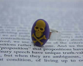 Yellow On Purple Skull & Crossbones Cameo Ring - Silver (Adjustable)