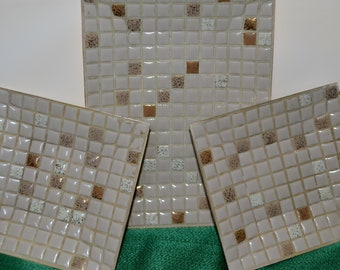 Vintage Mosaic Tile Trays Containers Plates  set of 3