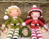 Beau and Belle Christmas Winter Dolls, Amigurumi Crochet Pattern