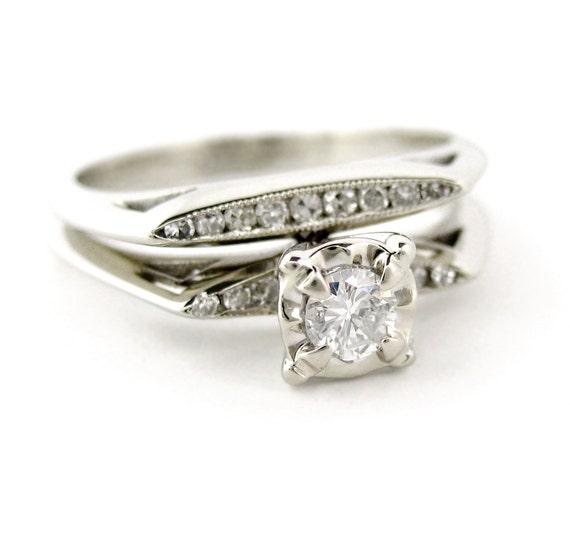 Vintage Art Deco Round Brilliant Diamond Engagement Ring 14kt White Gold Wedding Set