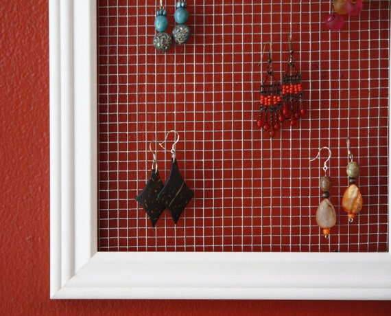 Earring Holder Display 7x14 White Earring Display Wire Mesh