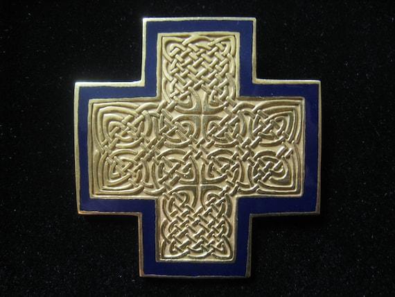 Vintage MMA Large Celtic Design Cross Pendant in Gold tone metal with VERY DARK Blue Enamel Border