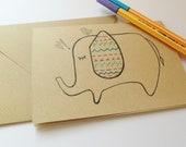 Brown kraft elephant and bird cartoon illustration blank greeting card