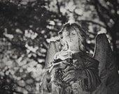 Landscape Photography - Statue Photograph - Angels - 8x10 Fine Art Photography Print - Black White Home Decor