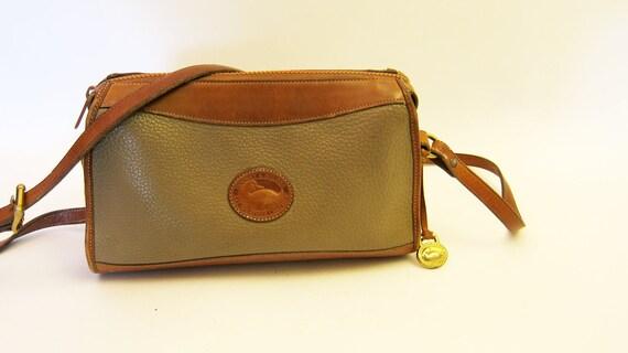 ON SALE Dooney and Bourke Leather Purse Tan and Beige Vintage Handbag