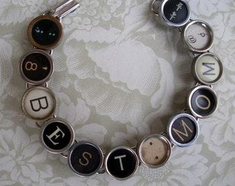 Vintage Typewriter Key Bracelet --BEST MOM--