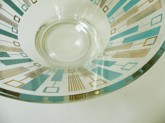 Atomic Punch Bowl // Mid Century Party Bar Glassware // Glass Turquoise and Gold
