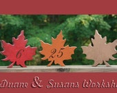 """Autumn Leaves 6"""" Wedding Table Numbers, Wooden, Wedding reception, Painted, fall leaves"""