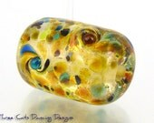 Handmade Lampwork Autumn Sprinkled Glass Bead Focal Barrel Brown Amber Blue Turquoise Green - SRA Made in Hawaii Free Shipping
