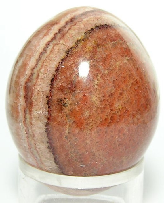 Orange Banded Onyx Polished Stone Egg  198 grams Free US Shipping