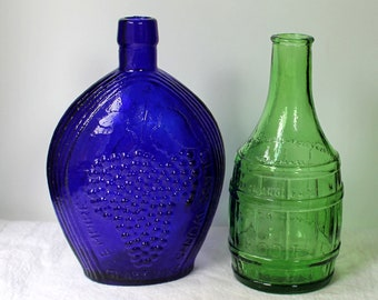 2 Vintage Collectible Bottles - Cobalt and Green