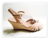 Vintage PASTEL PINK Wedge Ankle Strap Sandals - Size 9 - Worthington - Womens High Heels Strappy - pursenbootz