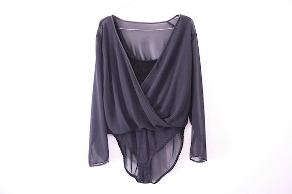Amazing Designer-like Minimalist Sheer Black Draped Bodysuit