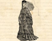 Old Fashined Woman with Umbrella Digital Image Download for Iron on Transfer, Papercrafts, Pillows, T-Shirts, Tote Bags, Burlap, No 01010