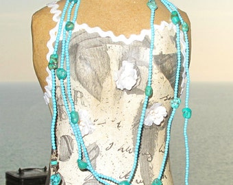 Long Turquoise Rope Necklace