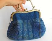 Felt purse. Blue bridal felt purse, clutch, nuno felted turquoise blue bag
