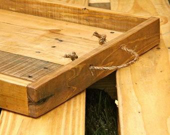 Reclaimed Pallet Wood Tray, wooden serving tray, serving tray, dinner tray, wooden dining tray, serving platter, handmade serving tray