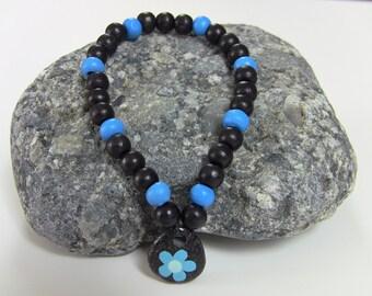 Bracelet - Childrens Bracelet - KIDS Bracelet - Gift for a Girl - Bracelets for Girls - Kids Jewelry - Black and Teal Bracelet