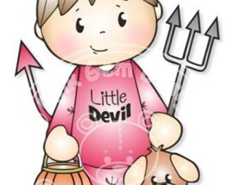 Digital (Digi) Devil Josh Halloween Stamp, Little Boy
