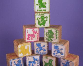 Wood Blocks, Disney Characters, Letters, Numbers, Wood Toy, Vintage Play Blocks